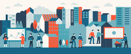 Vector illustration in flat simple style with small characters  -  bitcoin and business concept - abstract urban landscape with advertising and buildings - virtual currency, ecommerce, digital banking Foto de archivo - 110276058