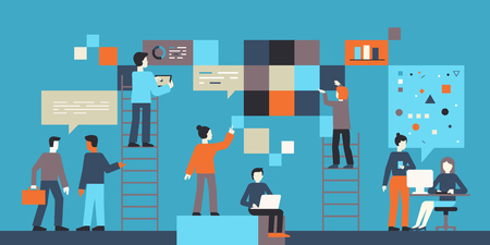 Vectorillustratie in vlakke eenvoudige stijl met kleine karakters - app- en softwareontwikkelingsconcept - mensen die werken aan abstracte banners met gegevens - team van computerprogrammeurs, grafische en interfaceontwerpers, projectmanagers