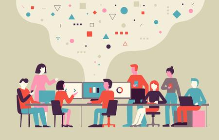 Vektorgrafik im flachen, einfachen Stil mit kleinen Zeichen - App- und Softwareentwicklungskonzept - Leute, die an abstrakten Bannern mit Daten arbeiten - Team von Computerprogrammierern, Grafik- und Schnittstellendesignern, Projektmanagern