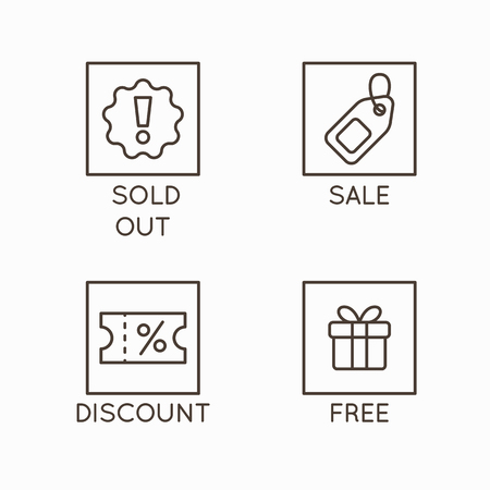 Vector set of line icons and badges - sold out, sale, discount and free - emblems for advertising and promotion online shops and stores