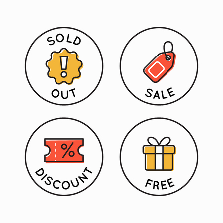 Vector set of line circle icons and badges - sold out, sale, discount and free - emblems for advertising and promotion online shops and stores