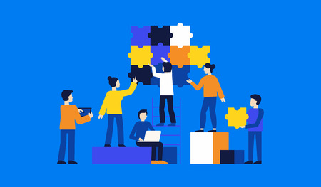 Vector illustration in simple flat style - teamwork and development concept - people holding puzzle pieces - banner and infographics design template Vektoros illusztráció