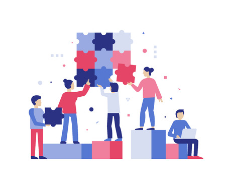 Vector illustration in simple flat style - teamwork and development concept - people holding  puzzle pieces - banner and infographics design template Foto de archivo - 110717596