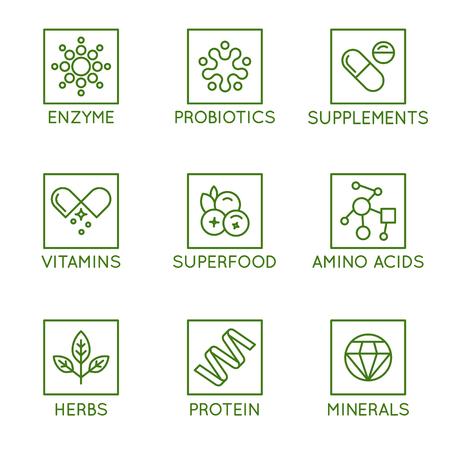 Set vettoriale di icone e distintivi per il confezionamento di prodotti naturali per la salute, vitamine, integratori - alimentazione sana e dieta - set di elementi di design per prodotti biologici e bio Vettoriali