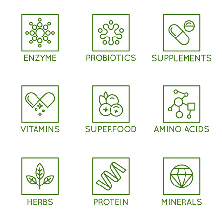 Vector set of icons and badges for packaging for natural health products, vitamins, supplements - healthy eating and dieting - set of design elements for organic and bio products Illusztráció