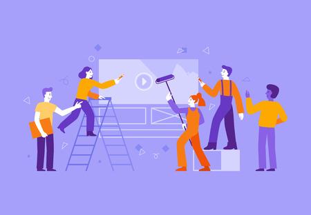 Ilustración de vector de estilo plano simple con personajes - gente de dibujos animados que trabaja en diseño web e interfaz de pintura - concepto de equipo creativo Ilustración de vector