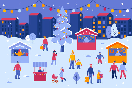Vektorillustration im flachen einfachen Stil - Weihnachtsgrußkarte, Banner, Poster mit Leuten auf dem saisonalen Markt des Festivals und der Messe - Männer und Frauen, die Winterferien am Stadtplatz feiern Vektorgrafik