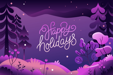 Vector illustration in trendy flat  style - background with copy space for text - winter landscape - background for banner, greeting card, poster and advertising - happy new year and Christmas holidays  イラスト・ベクター素材
