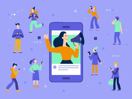 Illustrazione vettoriale in stile piatto semplice con personaggi - concetto di marketing influencer - servizi di promozione blogger e prodotti per i suoi follower online Vettoriali