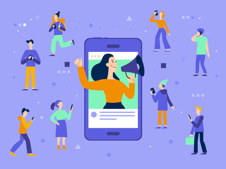 Vector illustration in flat simple style with characters - influencer marketing concept - blogger promotion services and goods for her followers online Archivio Fotografico - 112689924
