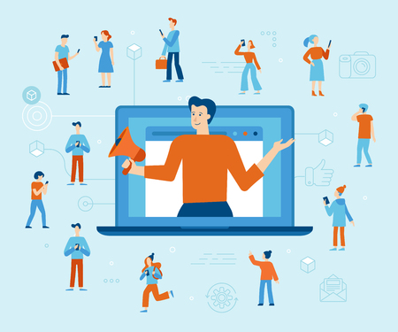 Vector illustration in flat simple style with characters - influencer marketing concept - blogger promotion services and goods for his followers online Illustration