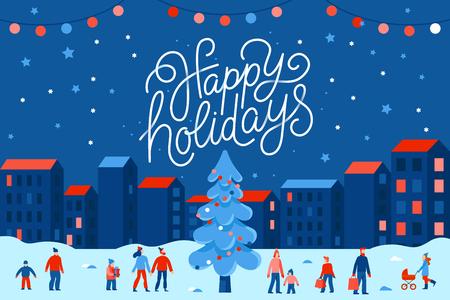 Ilustración de vector de estilo plano simple con letras a mano felices fiestas - tarjeta de felicitación de Navidad, pancarta, póster con gente en el mercado de temporada del festival y feria en la plaza del pueblo