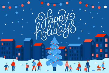 Vector illustration in flat simple style with hand lettering happy holidays -  Christmas greeting card, banner, poster with people at festival seasonal market and fair at town square Vettoriali