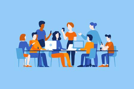 Vektorgrafik im flachen, einfachen Stil mit Charakteren - App- und Softwareentwicklung - Menschen, die zusammenarbeiten - Team von Computerprogrammierern, Grafik- und Schnittstellendesignern, Projektmanagern