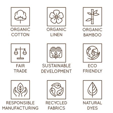 Set vettoriale di icone lineari e distintivi relativi alla moda lenta e tessuti, tessuti, indumenti e vestiti realizzati in modo sostenibile - produzione ecologica e produzione certificata del commercio equo e solidale