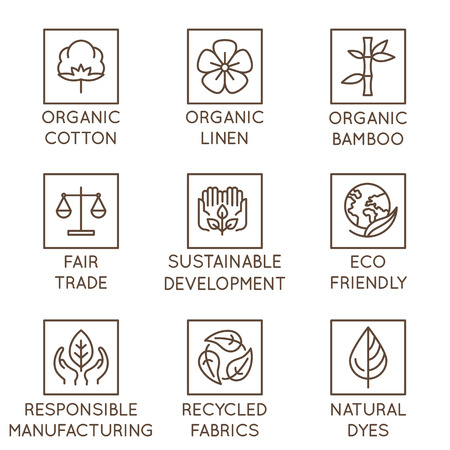 Vector set of linear icons and badges related to slow fashion and sustainable made textiles, fabrics, garment and clothes - eco-friendly manufacturing and fair trade certified producing