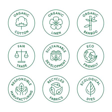 Wektor zestaw liniowych ikon i odznak związanych ze slow fashion i zrównoważonymi tkaninami, tkaninami, odzieżą i ubraniami - produkcja przyjazna dla środowiska i produkcja z certyfikatem sprawiedliwego handlu