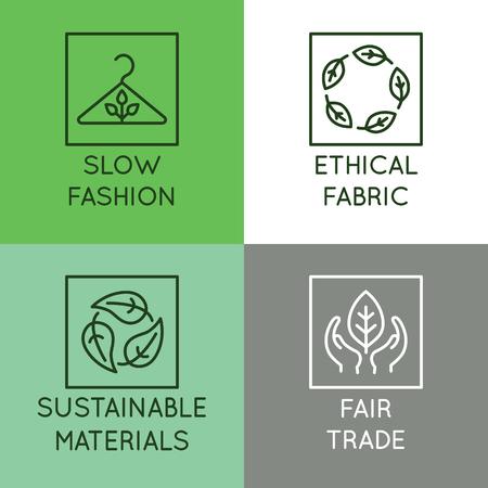 Set vettoriale di icone lineari e distintivi relativi alla moda lenta - tessuto etico, materiali sostenibili, commercio equo - produzione ecologica e produzione certificata biologica di abbigliamento e abbigliamento Vettoriali