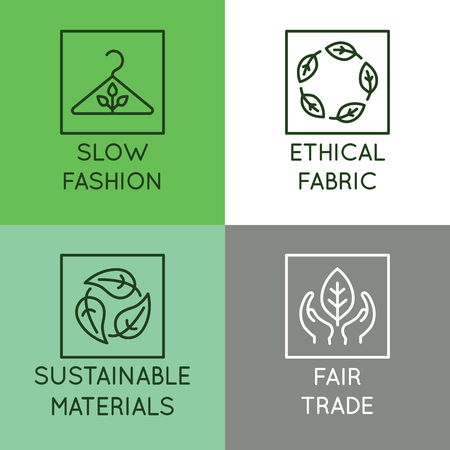 Vector set of linear icons and badges related to slow fashion - ethical fabric, sustainable materials, fair trade - eco-friendly manufacturing and organic certified producing of garment and apparel