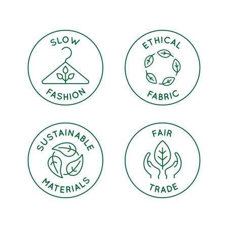 Set vettoriale di icone lineari e distintivi relativi alla moda lenta - tessuto etico, materiali sostenibili, commercio equo - produzione ecologica e produzione certificata biologica di abbigliamento e abbigliamento