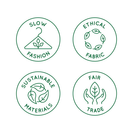 Vector set of linear icons and badges related to slow fashion - ethical fabric, sustainable materials, fair trade - eco-friendly manufacturing and organic certified producing of garment and apparel Archivio Fotografico - 112689932