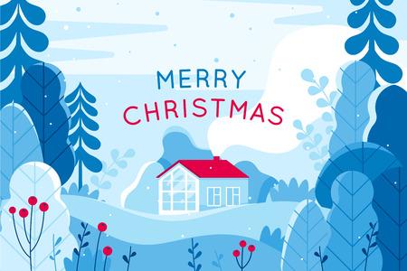 Vektor-Illustration im trendigen, flachen, einfachen Stil - Grußkarte und Banner der frohen Weihnachten und des guten Rutsch ins Neue Jahr - Winterlandschaft mit Haus