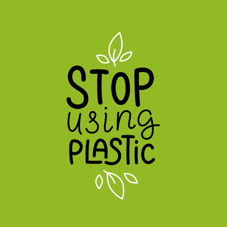 Vector logo design template and badge in trendy linear style and hand-lettering phrase stop using plastic - zero waste concept, recycle and reuse, reduce - ecological lifestyle and sustainable development
