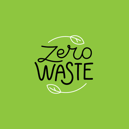Vector logo design template and badge in trendy linear style - zero waste concept, recycle and reuse, reduce - ecological lifestyle and sustainable developments icons Ilustrace