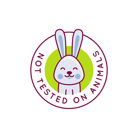 Vector design template and badge with cartoon rabbit - not tested on animals stamp