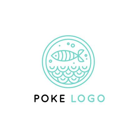 Vector logo design template   design in trendy linear style - poke bowl - emblem for food delivery, menu, restaurant, cafe