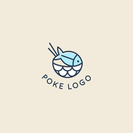 Vector  design template  design in trendy linear style - poke bowl - emblem for food delivery, menu, restaurant, cafe