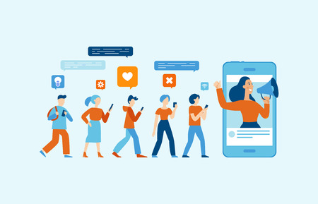 Ilustración de vector de estilo plano simple con personajes - concepto de marketing de influencia - servicios de promoción y bienes para sus seguidores en línea Ilustración de vector