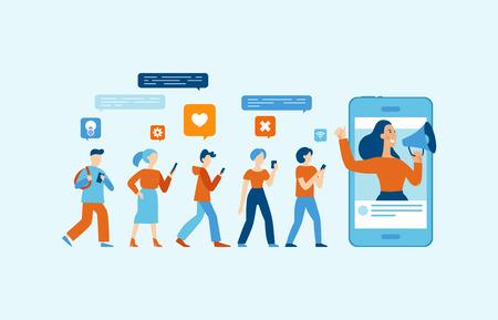 Vectorillustratie in platte eenvoudige stijl met karakters - influencer marketingconcept - promotiediensten en goederen voor zijn volgers online Vector Illustratie