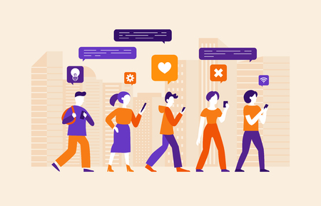 Vector illustration in flat simple style with characters - social media and smartphone addiction concept - people chatting, commenting and consuming online content using mobile phones  イラスト・ベクター素材