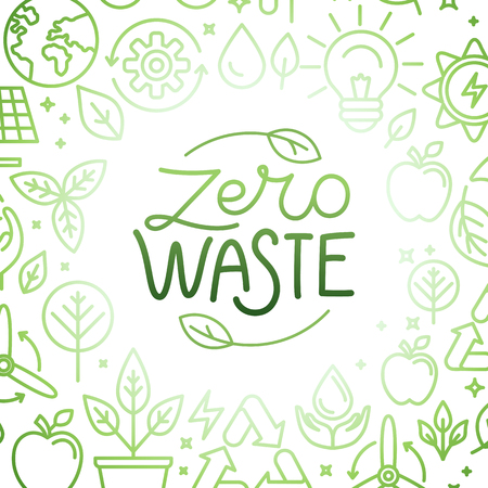 Vector   design template and badge in trendy linear style - zero waste concept, recycle and reuse, reduce - ecological lifestyle and sustainable developments icons Stock Vector - 112690584