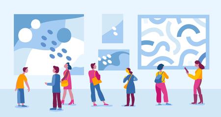 Ilustración de vector de estilo plano simple con personajes - personas que visitan la galería de arte moderno y ven exposiciones de pinturas abstractas - evento bienal Ilustración de vector