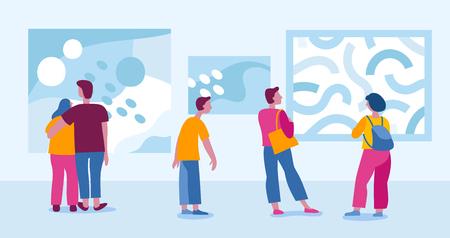 Illustration vectorielle dans un style plat et simple avec des personnages - personnes visitant une galerie d'art moderne et visionnant une exposition de peintures abstraites - événement biennale
