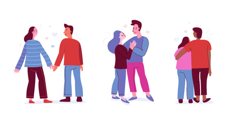 Vector illustration in flat simple style with characters - people in love - valentines day greeting card - happy couples Çizim