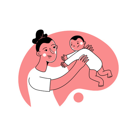 Vector illustration in trendy flat linear style - happy mother and child  - motherhood concept - cartoon character 版權商用圖片 - 114939813