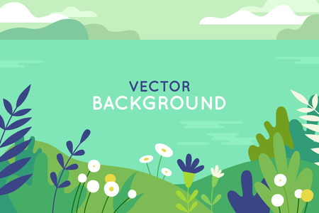 Vector illustration in trendy flat simple style - spring and summer background with copy space for text - landscape with plants, leaves, flowers - background for banner, greeting card, poster and advertising