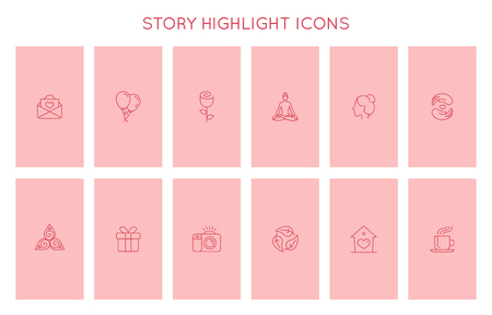 Vector set of icons and emblems for social media story highlight covers - design templates for lifestyle, travel and photographers, designers, creative entrepreneurs Иллюстрация