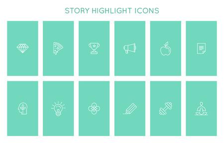 Ensemble vectoriel d'icônes et d'emblèmes pour les couvertures de l'histoire des médias sociaux - modèles de conception pour le style de vie, les voyages et les photographes, les designers, les entrepreneurs créatifs