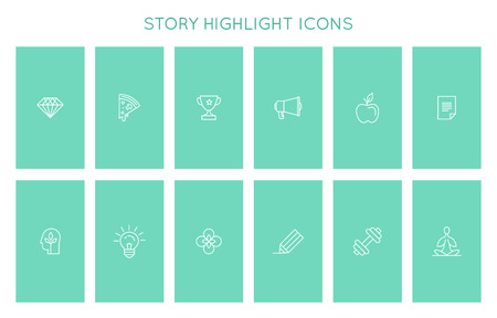Vector set of icons and emblems for social media story highlight covers - design templates for lifestyle, travel   and photographers, designers, creative entrepreneurs