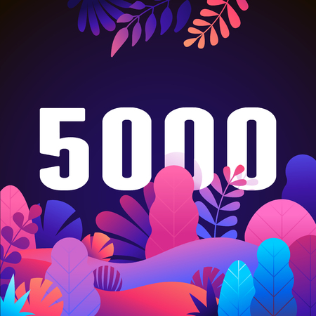Vector abstract illustration with leaves and flowers in gradient colours and bold numbers - count of followers on social media blog - 5000 fans and subscribers celebration 向量圖像