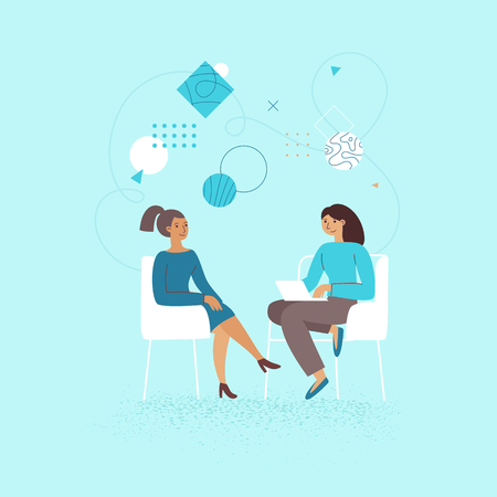 Vector illustration in flat linear style - female business characters -  girl power concept, and woman empowerment - two women and start up meeting for interview and management
