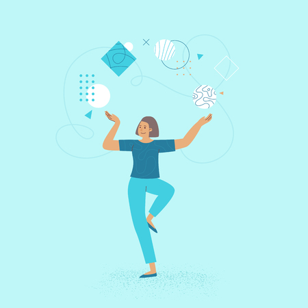 Vector illustration in flat linear style - female business characters - girl power concept and woman empowerment - woman workng on business development - abstract  life work balance