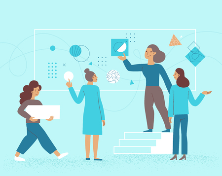 Vector illustration in flat cartoon style - female business team - partnership and cooperation concept