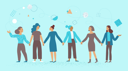Vector illustration in flat linear style - female business characters - girl power concept and women empowering - women holding hands and working on development and promotion business and start up Illustration