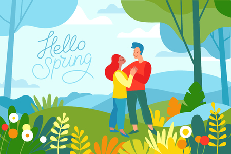 Vector illustration in flat linear style - spring illustration - landscape illustration with two characters exploring forest and trekking together - greeting card design template 스톡 콘텐츠 - 116389088