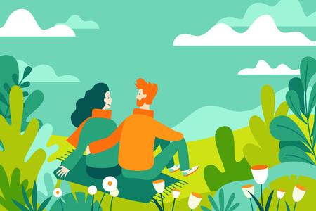 Illustrazione vettoriale in stile lineare piatto - illustrazione di primavera - illustrazione di paesaggio con coppia innamorata - esplorando la natura e facendo trekking insieme - modello di progettazione di biglietti di auguri Vettoriali